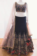 N Blue Embroidered Attractive Party Wear Lehenga Choli
