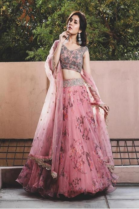 Pink Color Digital Printed Round Embroidary Lehenga