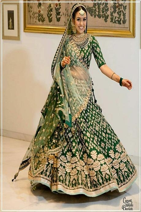 Green Color Embroidey  Round Embroidary Lehenga