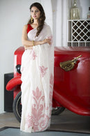 Pure Linen Silk White Colour Party Wear Designer Silk Saree