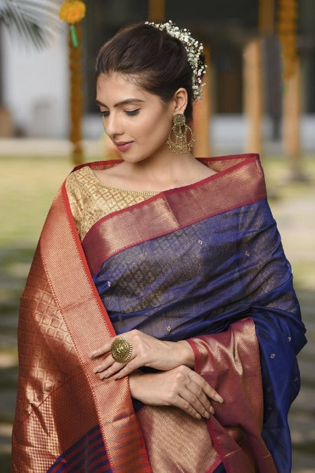 Attractive Blue And Rani Colored Party Wear Hand Weaving Khadi Saree