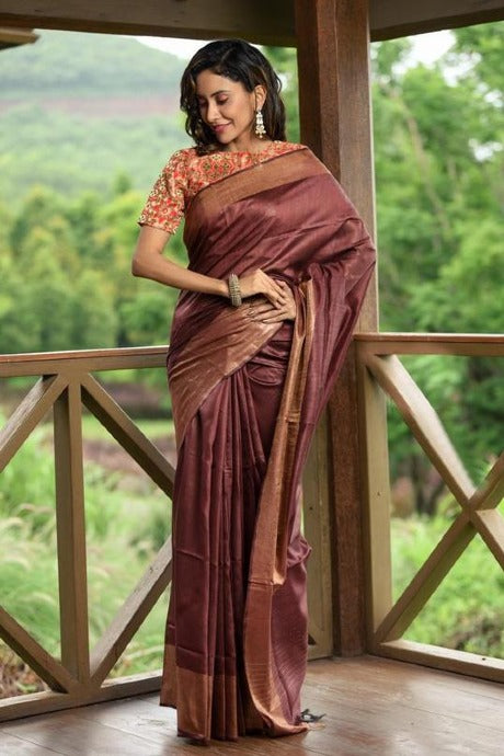 Beautiful Coffee Color Soft Festival Wear Linen Silk Designer Saree
