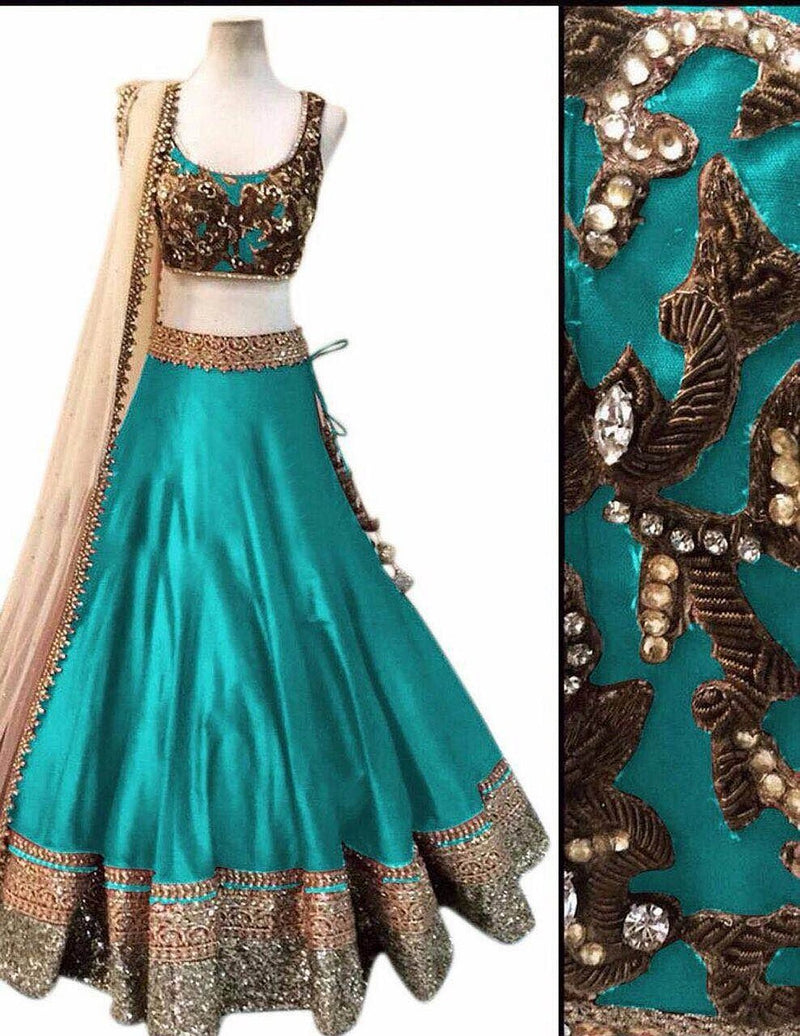 Women's Embrodery Designer Beautiful Mulbarry Silk Lehengha Choli,Blouse and Dupatta Piece (sky blue firogi)