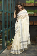 White Color Hand Loom Linen Designer Digital Print Saree