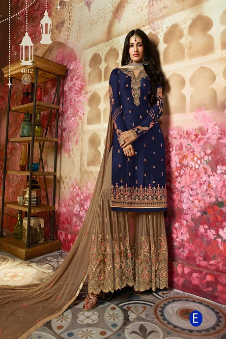Amazing Navy Blue Color Designer Sarara