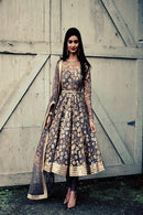 Alluring Grey Color Chicken Work Anarkali Dress