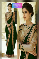 Appealing Light Green Color Georgette Embroidery Work Silk Saree