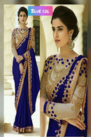 Appealing Blue Color Georgette Embroidery Work Silk Saree