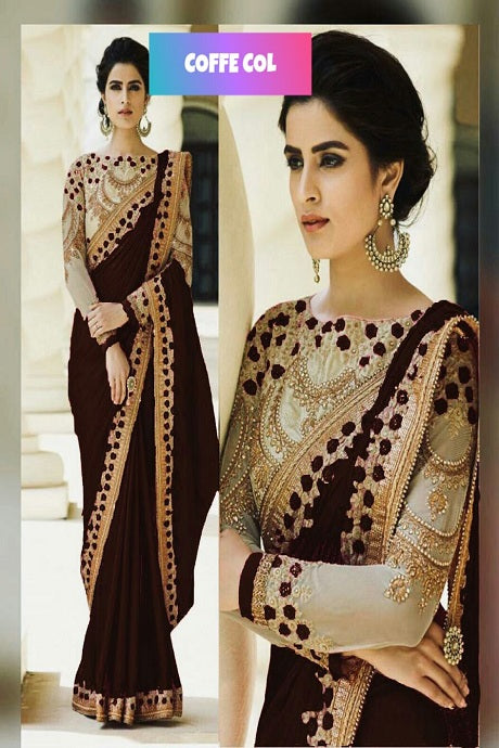 Appealing Brown Color Georgette Embroidery Work Silk Saree