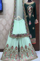 Appealing Bottle Green Color Embroidery Work Kurti N Plazoo