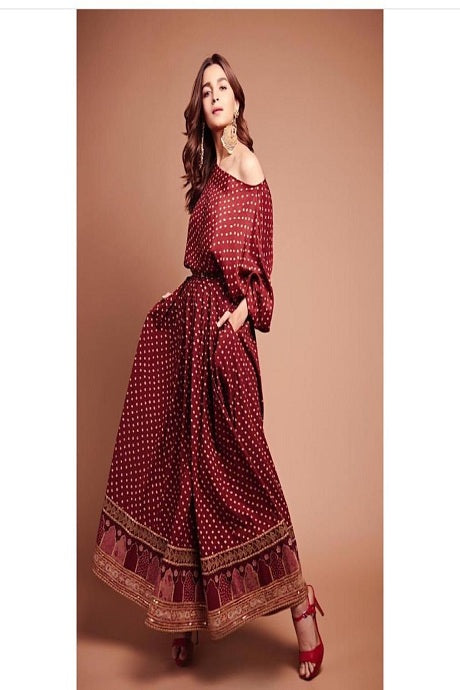 Antic Maroon Colored Occasional Wear Digital Printed Silk Three Piece