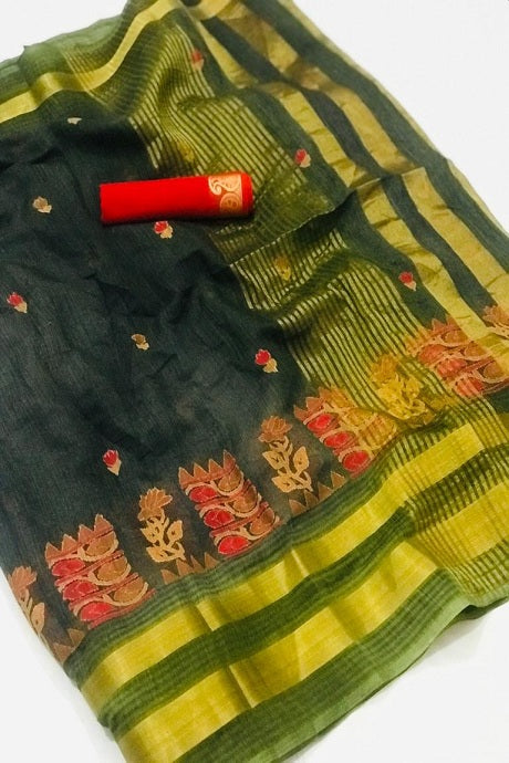 Attractive C green Colour Banarasi Pure Soft Silk Colour Saree