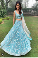 Light Firoji Embroidered Attractive Party Wear Lehenga Choli