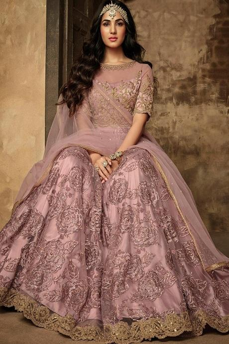 Peach Embroidered Blouse With Tiered  Lehenga Choli