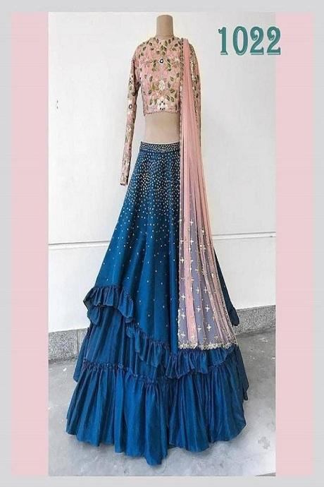 Best Color Combination Royal Blue And Pink Color Lehenga Choli
