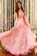 Pink Embroidered Attractive Party Wear Lehenga Choli