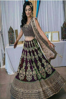 Majestic Marun Colored Bridal Embroidered Lehenga Choli