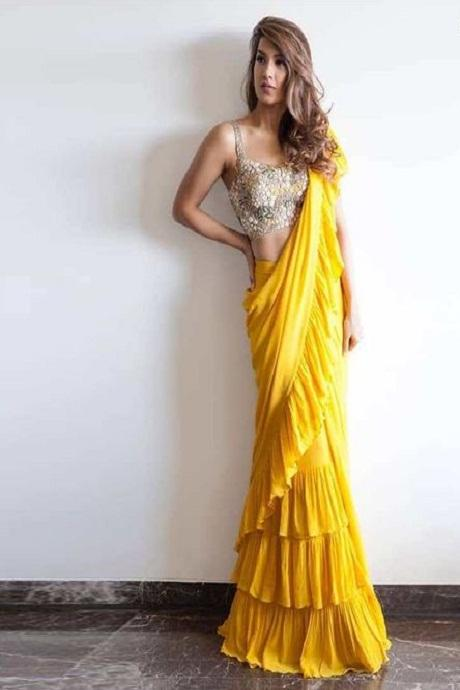 Yellow Color Party Wear Ruffle Saree RR35
