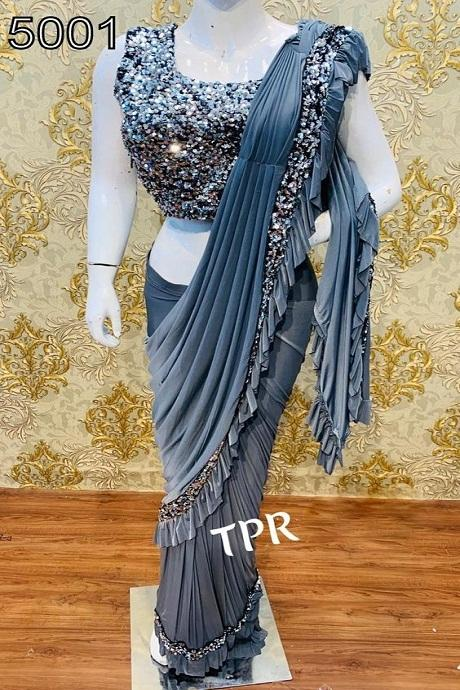 Good Looking Gray Color Party Wear Ruffle Saree RR51