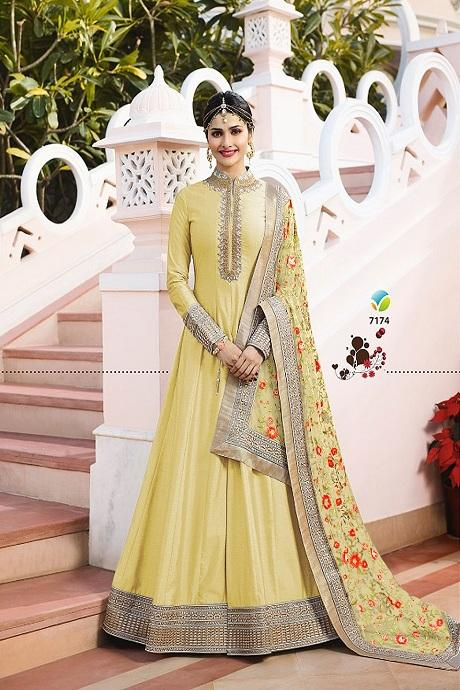 Beautiful Light Yellow Color Attractive Designer Gown
