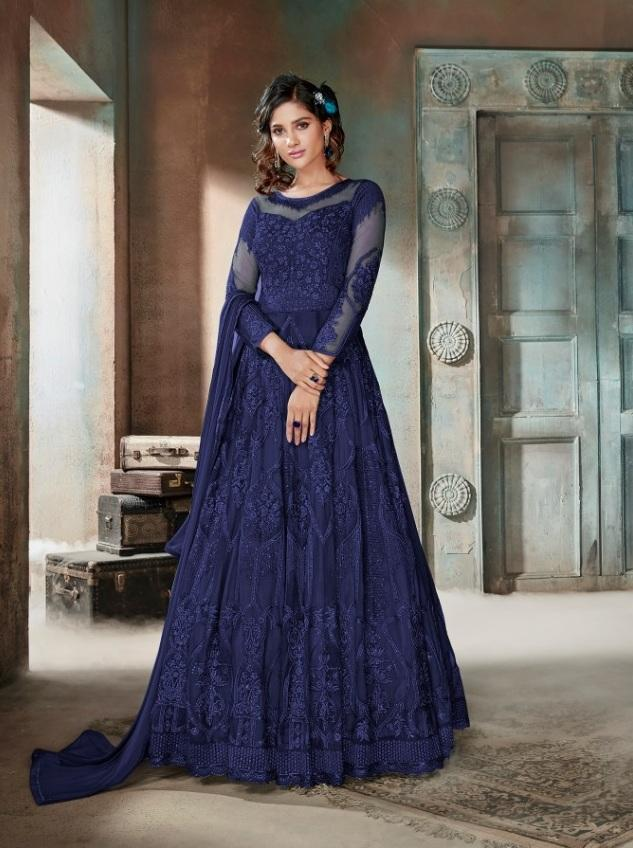 Beautiful Blue Color Attractive Designer Gown