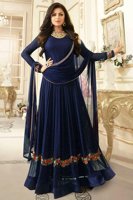 Arresting Dark Blue Color Stylish Designer Gown