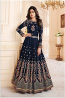 Blissful Navy Blue Color Attractive Designer Gown