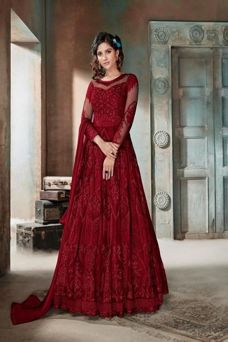 Beaming Dark Red Color Anarkali Designer Gown
