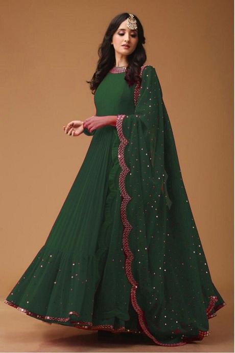 Green Color Pure Designer Attractive Gown
