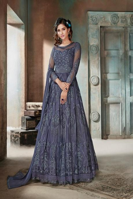 Bewitching Grey Color Attractive Designer Gown