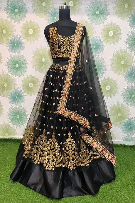 Partyblack Georgette Sequence Embroidered Lehenga Choli