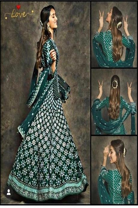 Green Colour Taffeta Silk With Embroidery Work Lahenga Choli