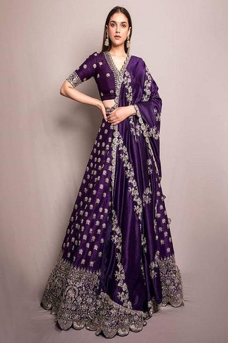 Purple Peper Silk Hevy Box Pattern Round Embroidary Lehenga