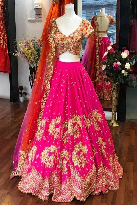 Gorgeous Pink Colored Designer Lehenga Choli