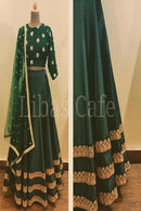 Ominous Sea Green Banglory Silk Semi Stitched Lehenga Choli