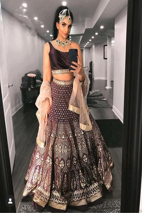 Maroon Embroidered Attractive Party Wear Lehenga Choli