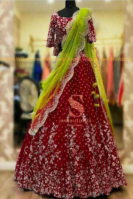 Red Embroidered Attractive Party Wear Lehenga Choli