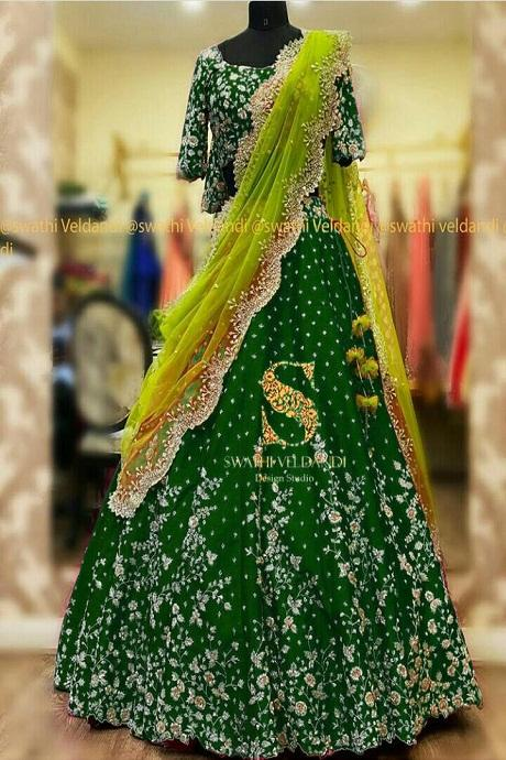 Green Embroidered Attractive Party Wear Lehenga Choli