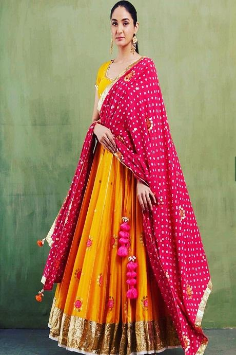 Tratidional Party-Wear Yellow Colour Designer Lahenga Choli