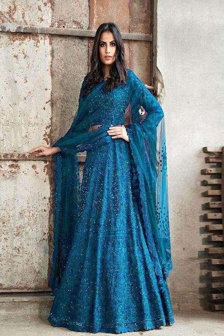 Firogi Blue Embroidered Attractive Party Wear Lehenga Choli