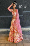 Captivating Peach Colored Designer Lehenga Choli