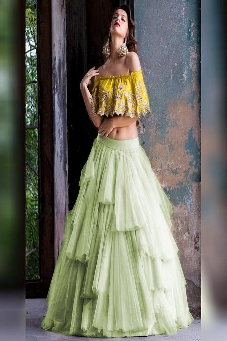 Turquoise Embroidered Attractive Party Wear Lehenga Choli