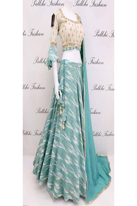 Sky Blue Embroidered Attractive Party Wear Lehenga Choli