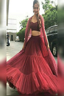 Engaging Red Silk Bollywood Lehenga Choli