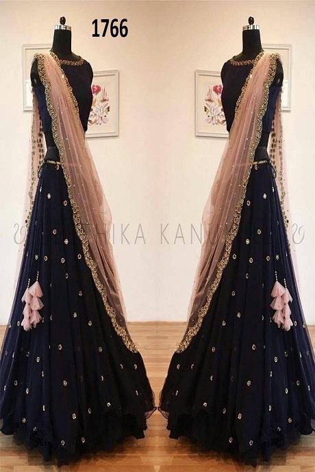 Kriti Sanon Blue Banglori Silk Embroidered Lehenga Choli