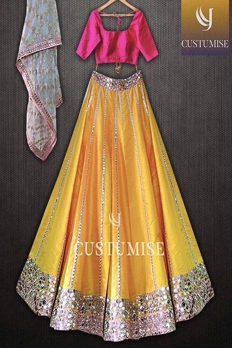 Classic Yellow Colored Bridal Embroidered Lehenga Choli