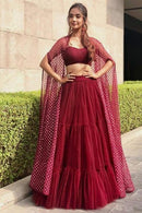 Red Silk Multi Layered Lehenga With Embroidery Blouse