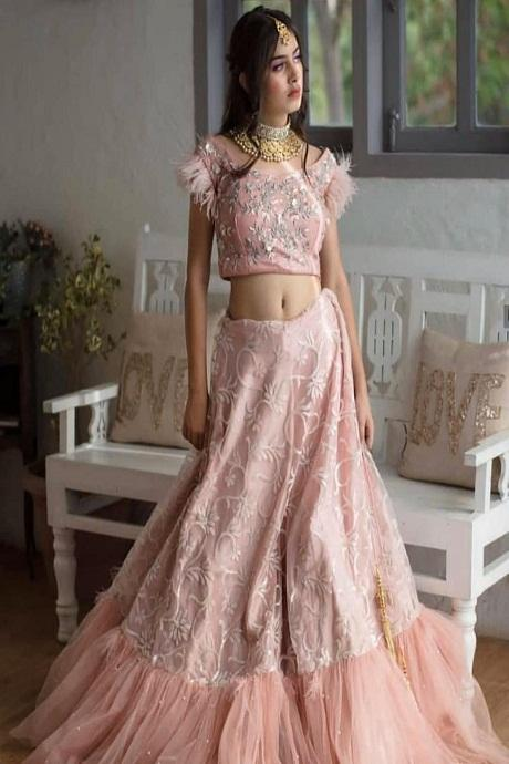 Bright Peach Colored Soft Silk Lehenga Choli