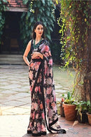Desginer Black Color Digital Printed Saree 02
