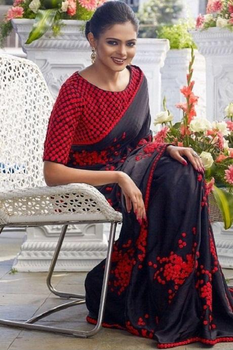Awesome Red N Black Color Party Wear Saree RR71